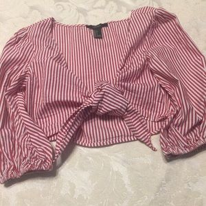 Forever 21 Red & White Stripe Tie Midriff Shirt -S